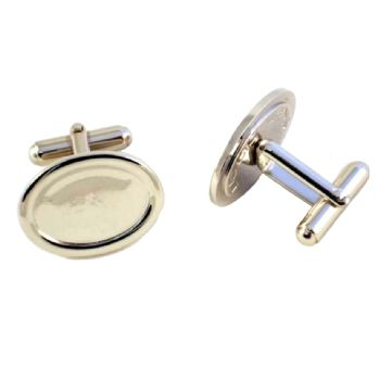 Cufflink Pair Oval 18x13mm silver